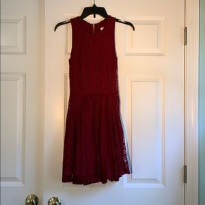 Francesca's Maroon Lace Semi-Formal Dress
